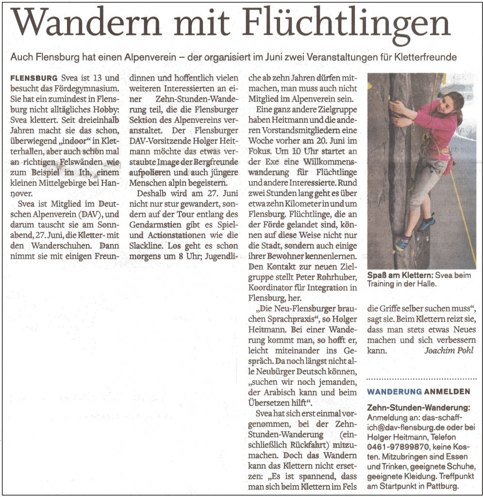 2015-05-13_FL_Tageblatt_Willkommenswanderung